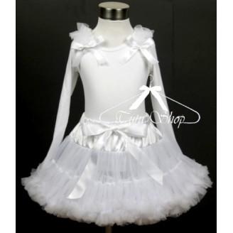 Baltas komplektas su marškinėliais ilgom rankovėm
