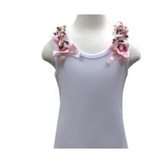 Marškinėliai be rankovių su gėlėtais kaspinėliais