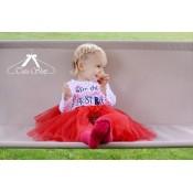 Raudonas sijonas TUTU 3-jų sluoksnių