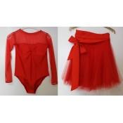 Tiulio sijonas moterims ir priderintos spalvos bodis (įv. spalvos)
