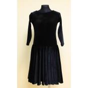 Užsakomoji juoda šokių suknelė iš aksomo