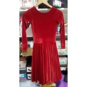 Raudona šokių suknelė iš aksomo, 146-152 cm