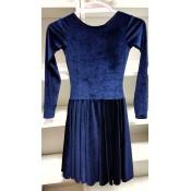 Tamsiai mėlyna šokių suknelė iš aksomo, 146-152 cm