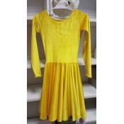 Geltona šokių suknelė iš aksomo, 122-128 cm