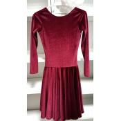 Vyno spalvos šokių suknelė iš aksomo, 128 d.