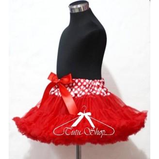 Raudonas sijonas su taškuoti juosmeniu