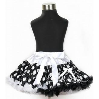 Juodai baltas taškuotas sijonas