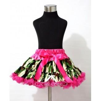 Kamufliažinis sijonas su rožiniu juosmeniu