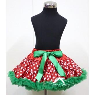 Raudonas taškuotas sijonas su žaliu kaspinu