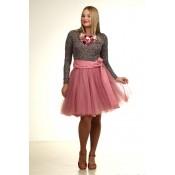 Sendintos rožės spalvos tiulio sijonas