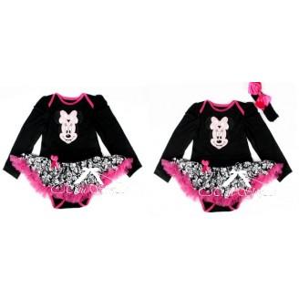 Juodas smėlinukas ilgom rankovėm su Minnie (raukinukai rožiniai)